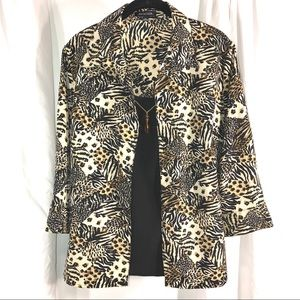 Vintage Notations Leopard Print Two-Piece Attached